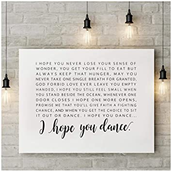 I Hope You Dance Letras Cartel Lienzo Pintura Imagen de la ...