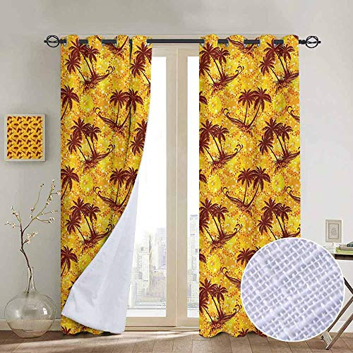 ins by Hawaiian,Ocean Sea Island Themed Pattern with Palm Trees on Vivid Circled Backdrop,Marigold and Brown,Wide Blackout Curtains, Keep Warm Draperies,1 Pair 100
