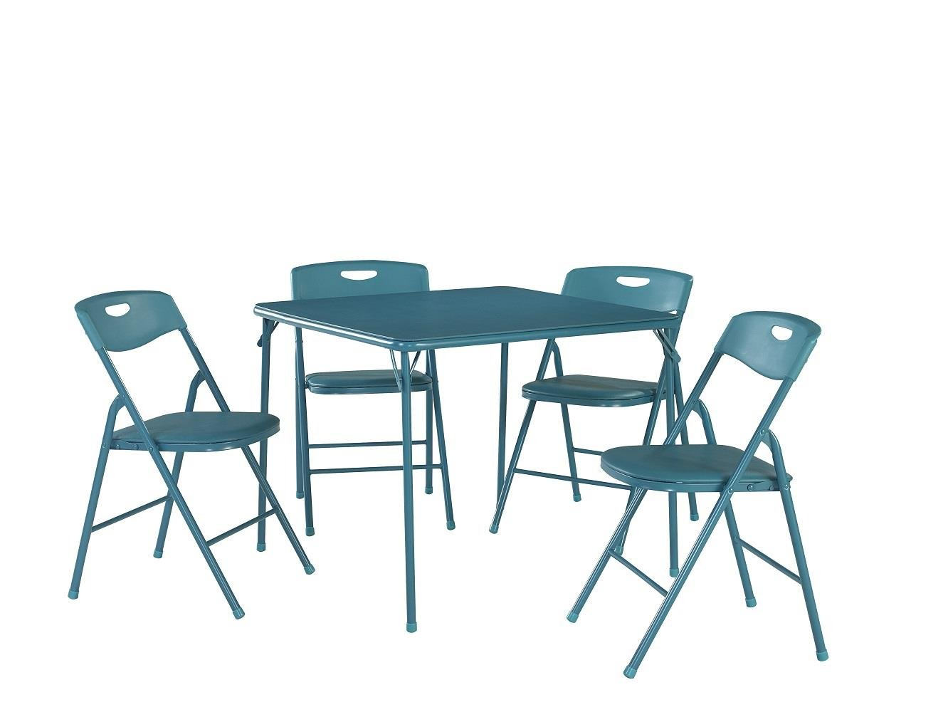 Amazon.com: Cosco 5-Piece Folding Table and Chair Set, Teal: Kitchen ...