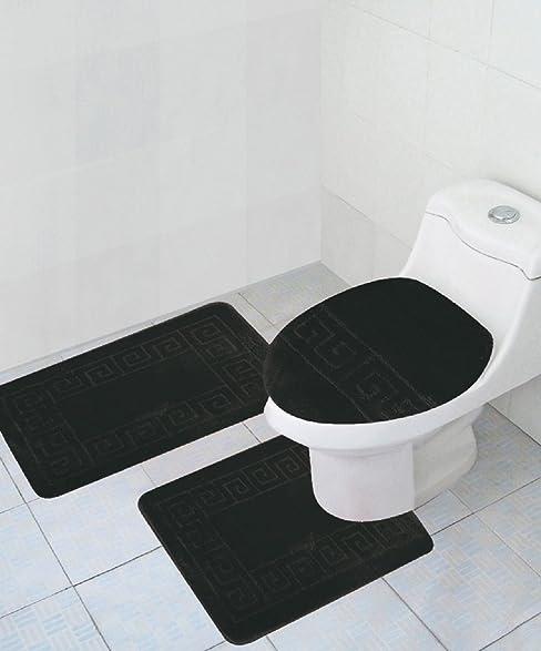 Amazoncom Piece Bath Rug Set Pattern Bathroom Rug X - Black contour bath rug for bathroom decorating ideas