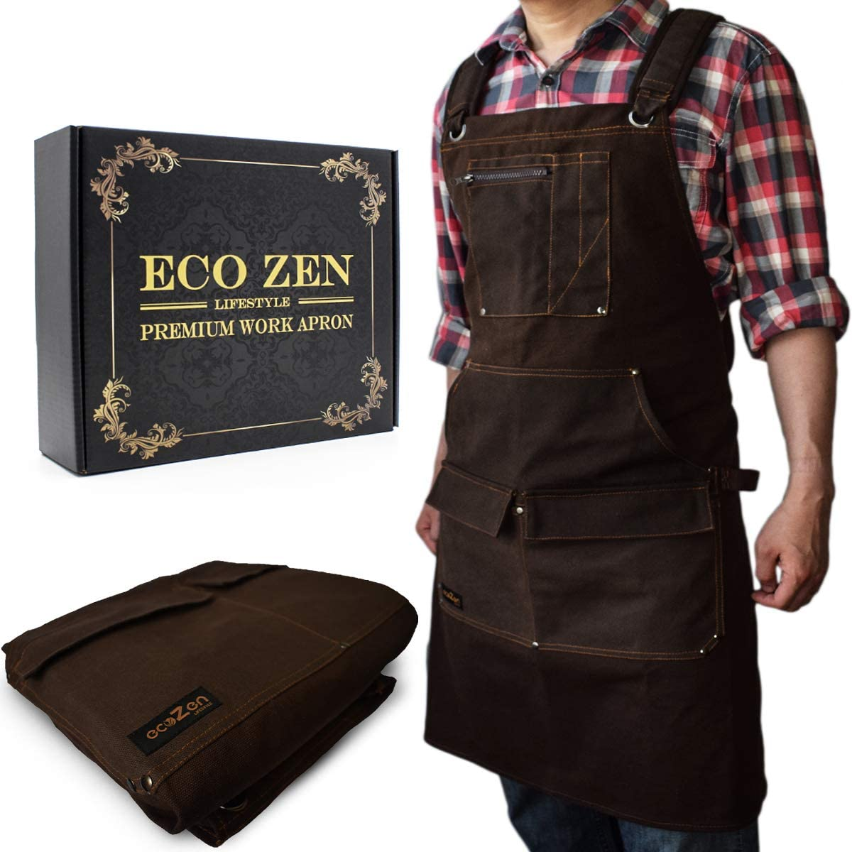 Woodworking Shop Apron - 16 oz Waxed Canvas Work Aprons | Metal Tape holder, Fully Adjustable to Comfortably Fit Men and Women Size S to XXL | Tough Tool Apron to Give Protection and Last a Lifetime - -