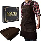 Woodworking Shop Apron - 16 oz Waxed Canvas Work Aprons | Metal Tape holder, Fully Adjustable to Comfortably Fit Men and…