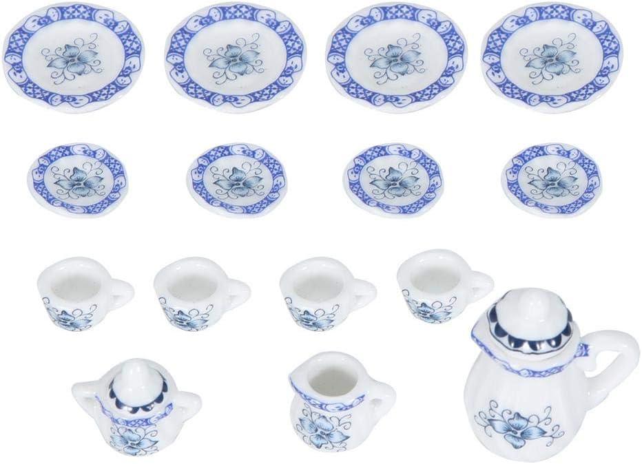 1:12 Accesorio para casa de muñecas, 15pcs Mini Taza de té de Flores de Porcelana Juego de casa de muñecas Decoración Miniatura de Muebles de simulación de Cocina para niños (Tye 1)