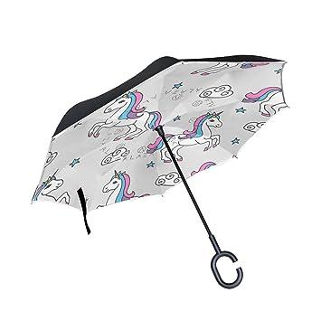 jstel doble capa puede unicornios y estrellas paraguas coches Reverse resistente al viento lluvia paraguas para