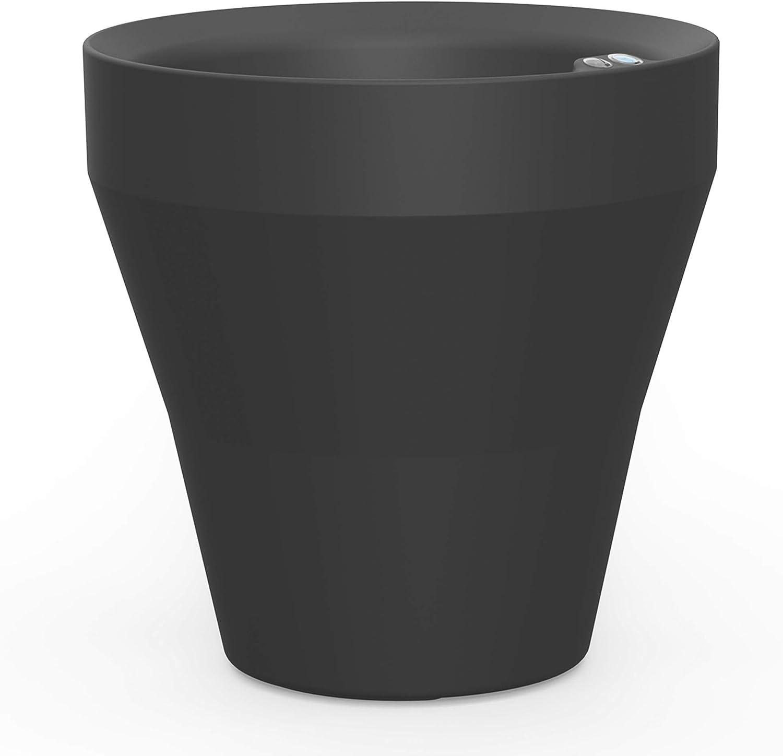 Crescent Garden Rim TruDrop Planter, Self-Watering Plant Pot, 18-Inch (Caviar Black)
