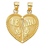 14K Yellow Gold ''Te Amo'' Couple Broken Heart Charm Pendant For Necklace or Chain