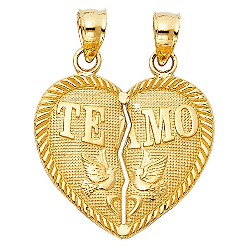 14K Yellow Gold ''Te Amo'' Couple Broken Heart Charm Pendant For Necklace or Chain by Ioka Jewelry