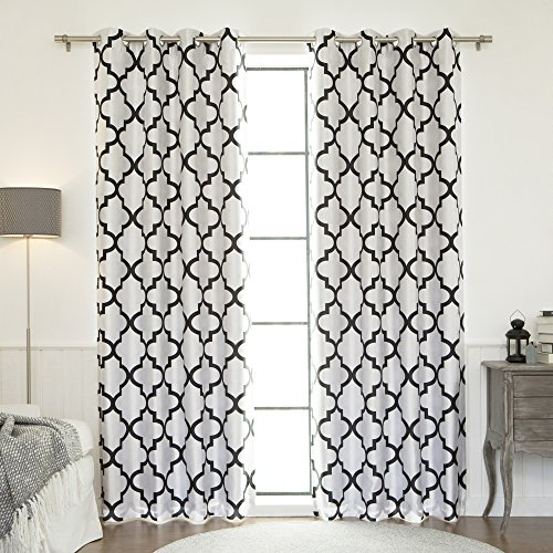 Best Home Fashion Reverse Moroccan Faux Silk Blackout Curtain - Stainless Steel Nickel Grommet Top - Black - 52
