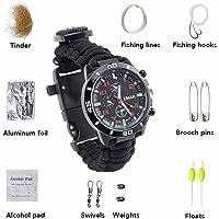 16en 1multifunción impermeable reloj pulsera de supervivencia Escalada de viaje Camping con brújula cuerda de nailon pulsera de supervivencia Reloj de banda
