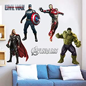 HU SHA Marvel Wall Stickers Marvel Avengers Wall Decals, Excellent Vinyl Wall Decor for Boys Room Living Room (19.7 x 27.6 inches Size)