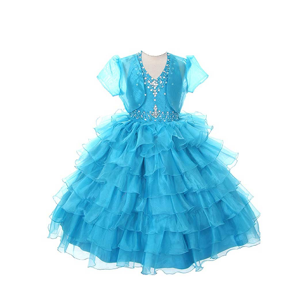 Rain Kids Girls 14 Turquoise Jeweled Halter Pageant Dress Sheer Jacket by The Rain Kids