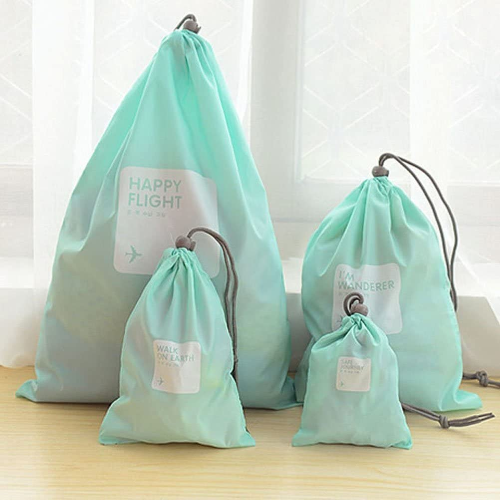 4pcs Universal Outdoor Travel Nylon Waterproof Storage Drawstring Bag