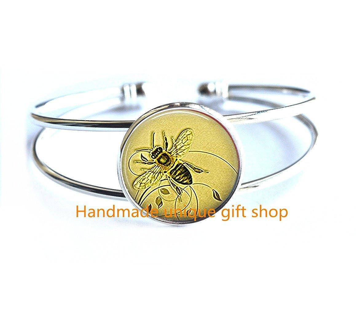 Honey Bee Bracelet Honey Bee Jewelry Beekeeper Gift Apiarist Gift Honey Bee Bracelet-RC047 Delicate Bracelet,Honeybee Bracelet Dainty Bracelet