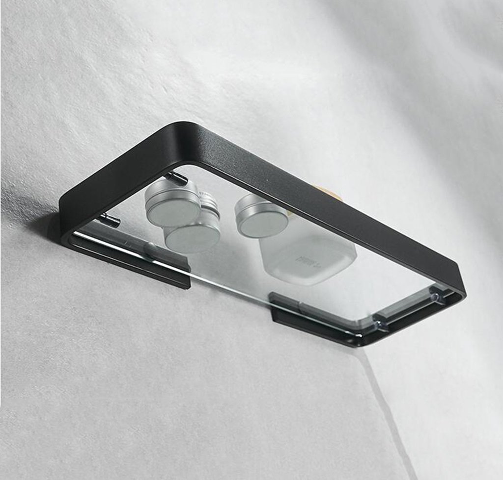 Bandejas De Baño Bandeja De Almacenamiento De Cosméticos De De De Aluminio Bandeja De Almacenamiento De Vidrio Rectangular Estante De Ducha De Vidrio (Tamaño : 35   12cm) be5c01