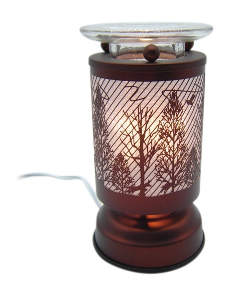 L&V New Electric Touch Fragrance Aromatherapy Lamp Oil Warmer Woods Deer Forest Animals Birds Scene Cabin Decor
