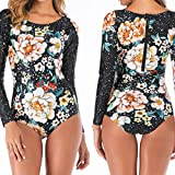 Lazapa - Clothing Printed Long Sleeve Briefs Swimwear Smooth Swimsuit Zipper Surf Suit Wetsuit Black