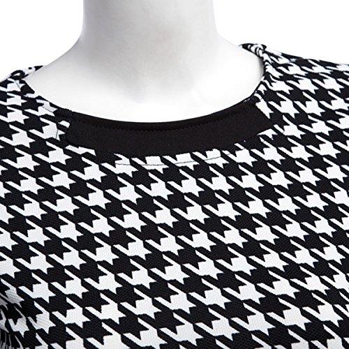 Vestido de Color en Hound Color de de Black tamaño Bloque L Manga Gallo Trabajo con Forma Media Pata de de Cuello pSdpqwr