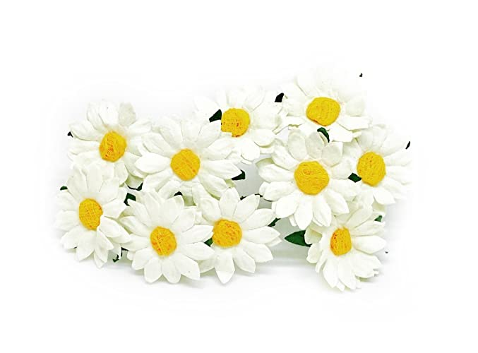 Amazon 35cm white yellow paper daisies with wire stems 35cm white yellow paper daisies with wire stems mulberry paper flowers floral crown flowers miniature mightylinksfo