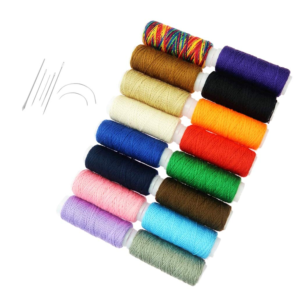 Sewing Needles - 7Pcs Steel Hand Sewing Needles Set & 16Pcs Assorted Color Polyester Sewing Thread for Hand Crafts by Sewing Needles