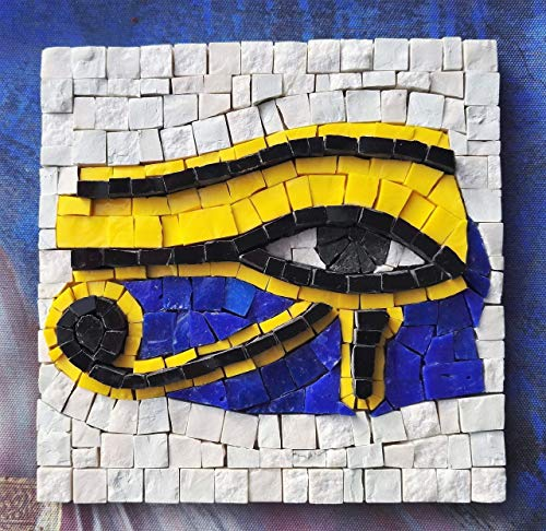 The Eye of Ra/Horus - Mosaic craft kit - Original gift ideas for creative people - Art set for adults - Interesting gifts for crafters - DIY wall art project -Italian marble & Murano glass tiles from MyriJoy