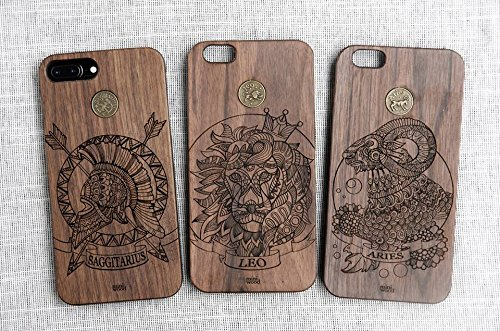 Aries Pattern - Miniwood iPhone/ Samsung Case - Natural Real Wooden, Laser Engraving, Unique, Classy & Stylish Wood, Unique Case, Protective Bumper with Real All Wooden - Gift Tory Burch Birthday Card