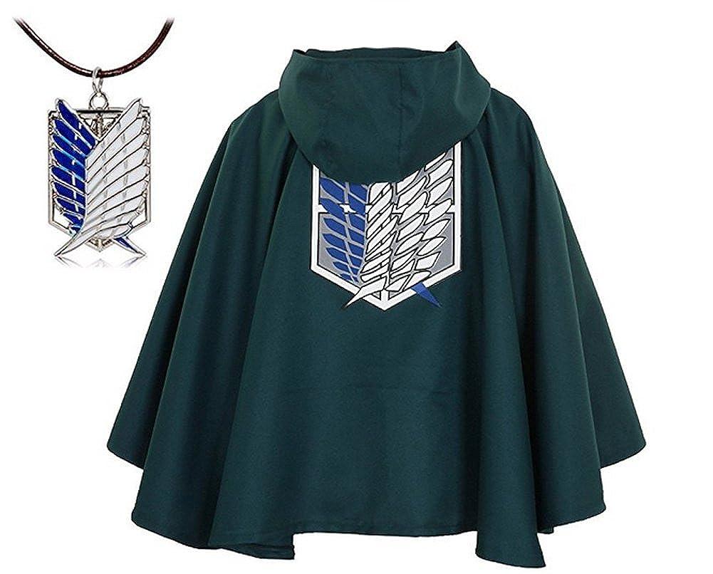 BlueField Attack on Titan Anime Shingeki No Kyojin Cloak Cape Cosplay with Nacklace by Brand TITAN009