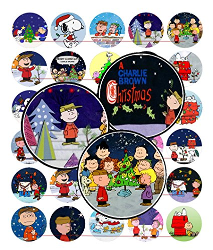 60 Precut 1  Christmas Charlie Brown Bottle Cap Images A