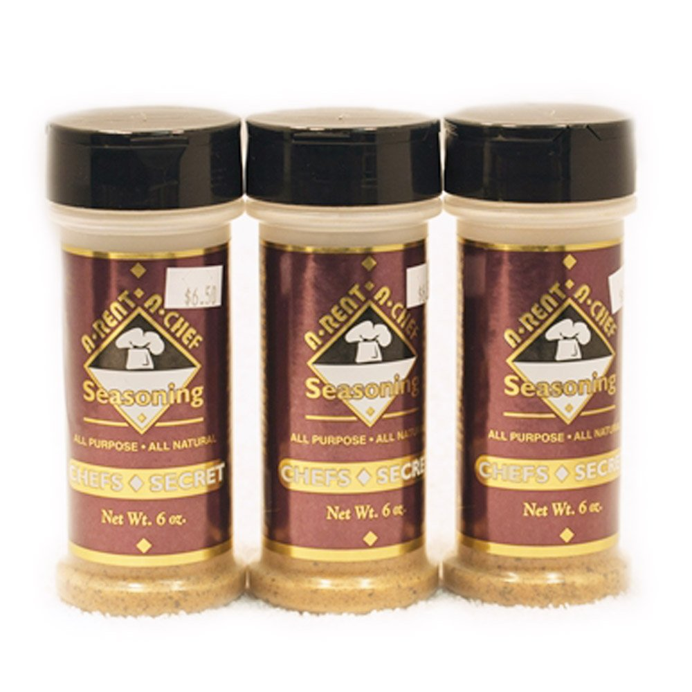 All Purpose Gluten Free Seasoning - All Natural - 3 pack of 6 oz - A-Rent-A-Chef All Natural - Made in the USA - Made in Nebraska - MSG Free - All Natural Food Seasoning - Chef's Secret Blend