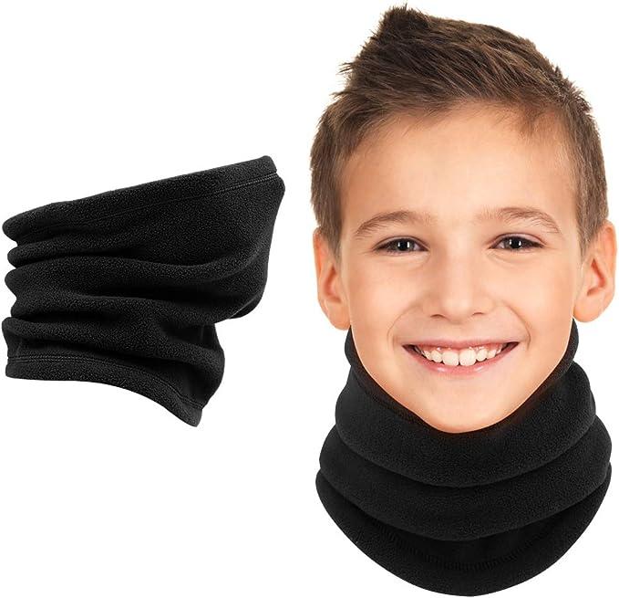 Childrens Scarf Girls Boys Polar Fleece Neck Warmer Snood Kids 3 in 1