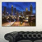 Design Art 1 Piece Atlanta Skyline Twilight Blue Hour Cityscape Canvas print, 60x28'', Blue