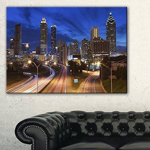 Design Art 1 Piece Atlanta Skyline Twilight Blue Hour Cityscape Canvas print, 60x28'', Blue by Design Art
