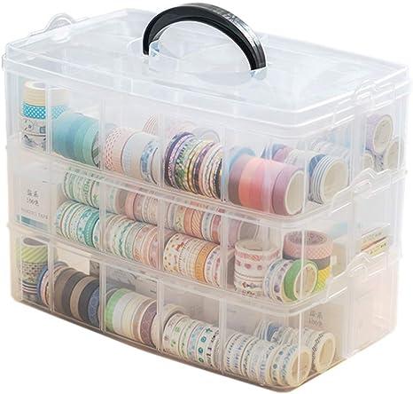 Caja organizadora de 3 capas para manualidades con 30 compartimentos ajustables para cinta Washi, artes y manualidades, joyero, organizador de cuentas, caja de joyería para niños con separadores: Amazon.es: Juguetes y juegos