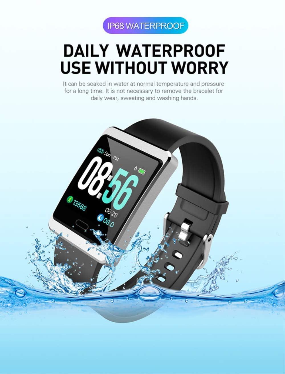 DAJUZI Smart Watch Monitor per la misurazione della Pressione sanguigna Pista Sportiva Bracciale Fitness per Donna Cinturino Impermeabile per Uomo Smartwatch Nero