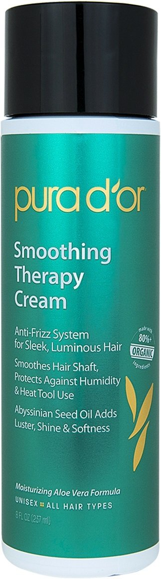 PURA D'OR Smoothing Therapy Leave-In Styling Cream for Anti-Frizz Straightens & Smoothes Dull, Dry, Brittle Hair, Infused with Natural & Organic Ingredients, for Men and Women, 8 Fl Oz