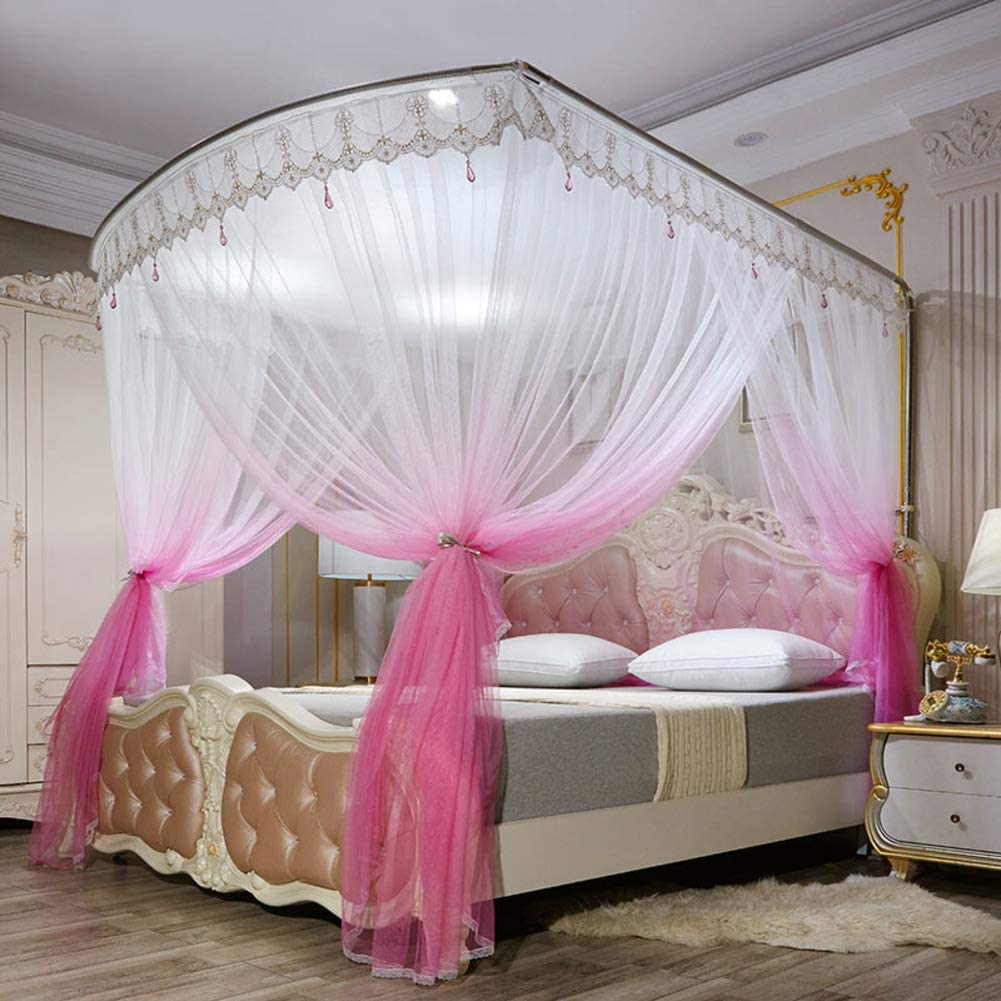 姫ベッドキャノピー,の-形のグラデーションモスキートネット ヨーロピアンスタイル レース ベッドのためのステンレス鋼サポートが付いている暗号化糸のベッドのカーテン -ピンク
