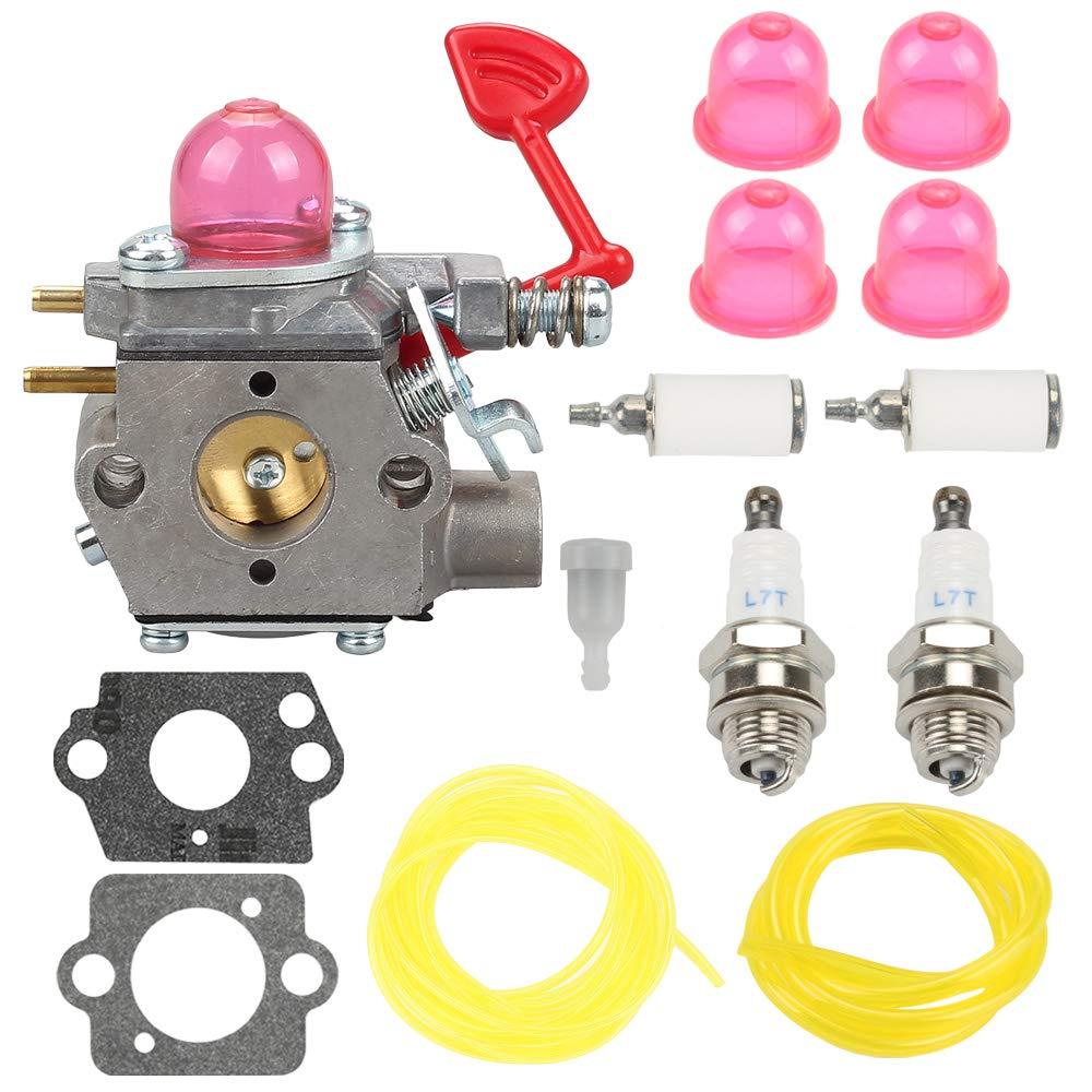 Venseri WT-875 Carburetor + Fuel Line Filter Spark Plug for Craftsman Poulan Pro Blower McCulloch Blower MAC GBV325 M325 M320 MC200VS BVM200C BVM200VS P200C P325 200mph Blower 545081855
