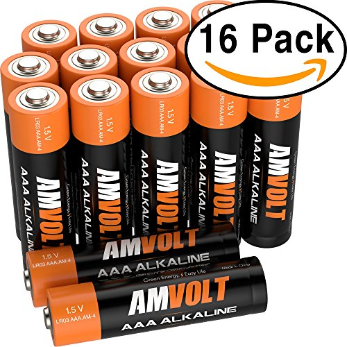 AmVolt AAA Batteries [10-YEAR LIFE] Premium LR3 Alkaline Battery 1.5 Volt Non Rechargeable Batteries for Watches Clocks Remotes Games Controllers Toys & Electronic Devices – 2027 Expiry Date (16 Pack)