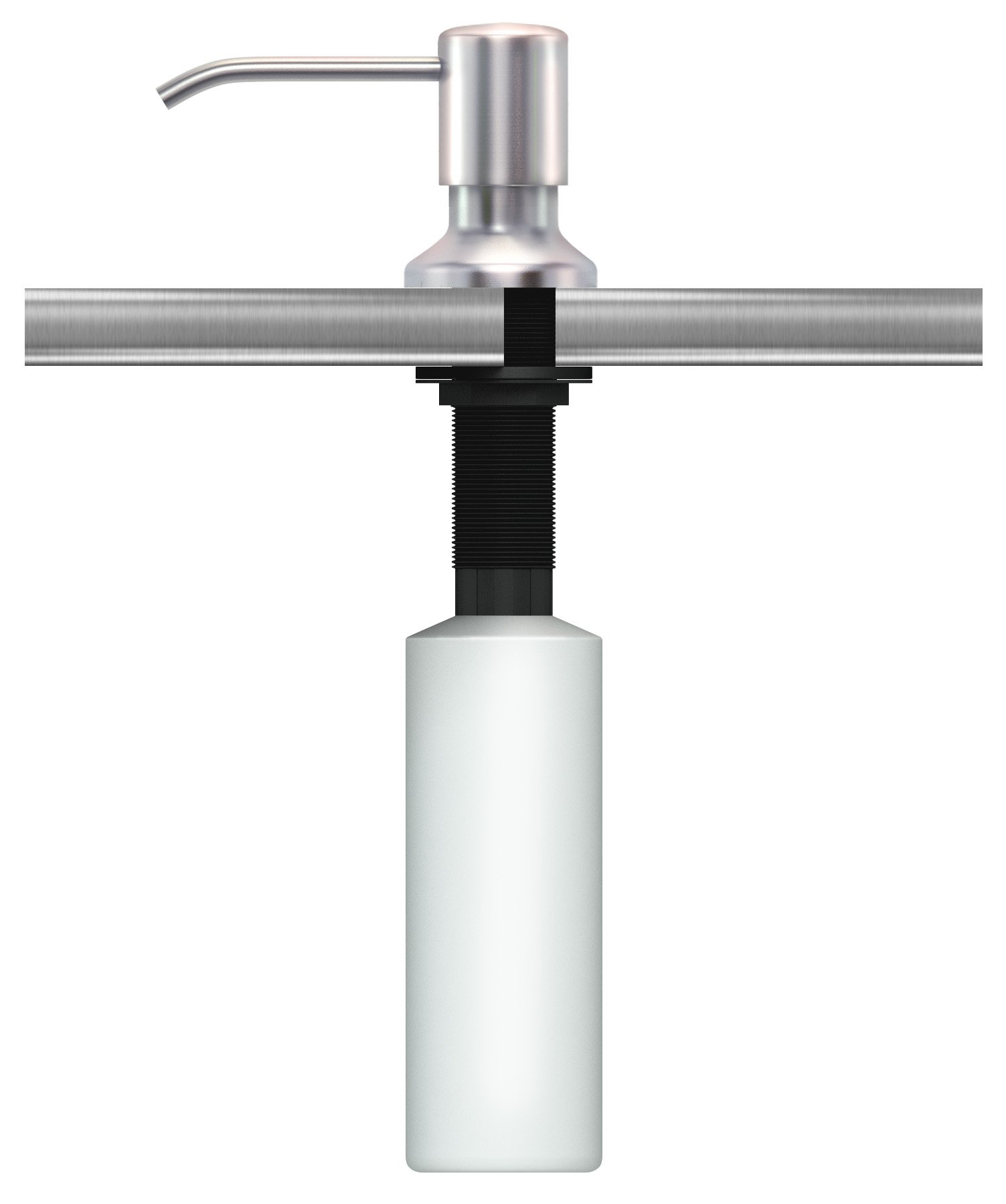 Ultimate Kitchen Stainless Steel Sink Soap Dispenser - Model SSD3 (Satin) - Large Capacity 17 OZ Bottle - Easy Installation (Video Guide Included) - 5 Yr Replacement Warranty by Ultimate Kitchen (Image #3)