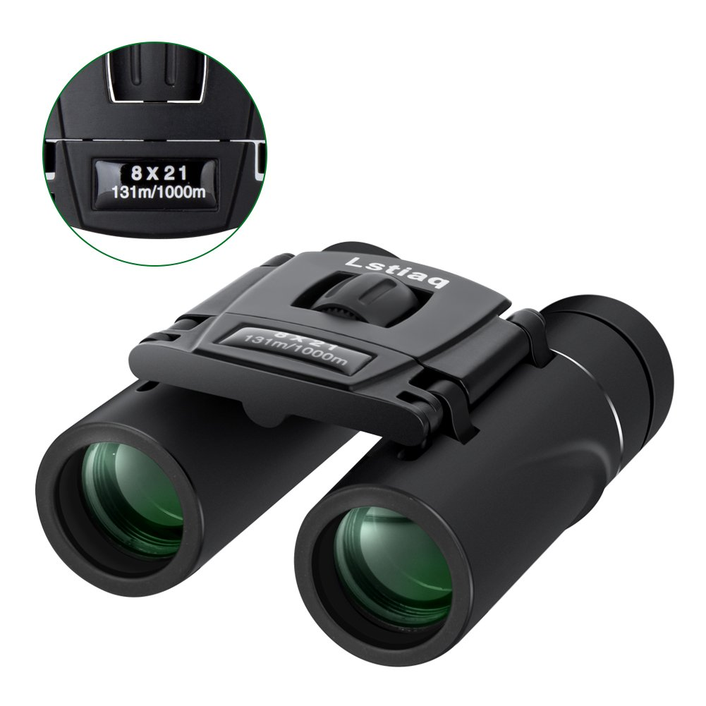 Lstiaq Binoculars Mini Pocket Binoculars Import Full Optical Glass Mini Lightweight Binoculars Foldable for Opera Concert, Travel, Hiking, Bird Watching, observing Outdoor Scenery,Hunting,Climbing by Lstiaq