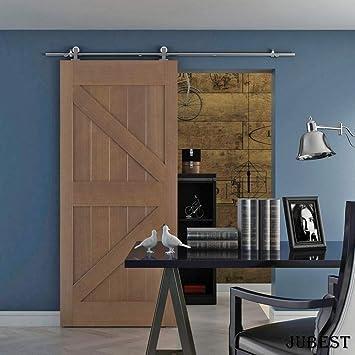 jubest Classic Kits de hardware para puertas de madera soporte de acero inoxidable de montaje superior puerta del establo pista deslizante puerta Hardware: Amazon.es: Bricolaje y herramientas