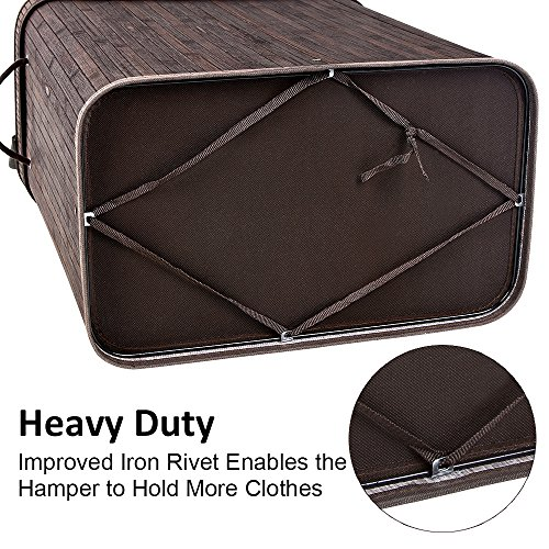 SONGMICS Folding Laundry Basket with Lid Handles and Removable Liner Bamboo Hampers Dirty Clothes Storage Rectangular Dark Brown ULCB63B by SONGMICS (Image #3)