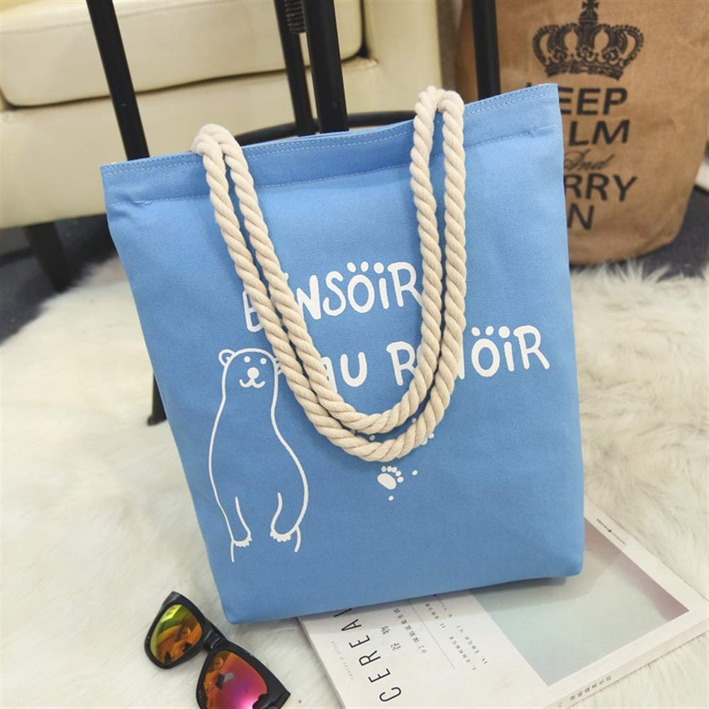WHXYAA Bear Printed Canvas Bag Shoulder Bag Tote Bag Ladies Large-Capacity Shopping Bag Blue Simple Atmosphere