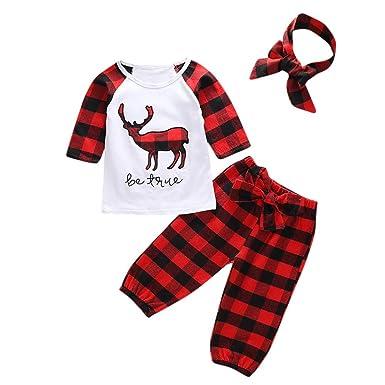 9cb8ea952 3PCS Toddler Christmas Clothes Vovotrade Newborn Baby Boys Girls Xasm Deer  Print Romper Infant Kids Long