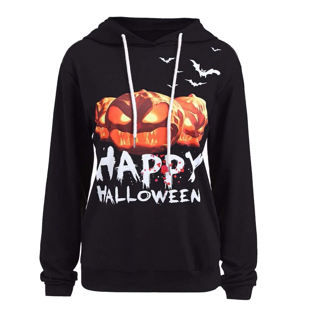 Halloween, BaZhai, Sudadera de Calabaza de Halloween para Mujer del Camisetas de Mujeres de Halloween Pumpkin Print Manga Larga Sudadera Pullover Tops para ...