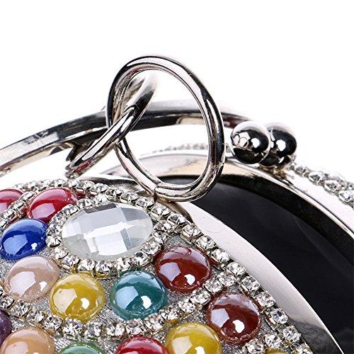 Perlas Bolsos De White Clutches por Hombro Cadena De De Mujer Fiesta Multicolored Vestido Diamantes De Boda De La Mano De Multicolor Carteras De Noche Imitación Y Globular De Bolso wFf1qR