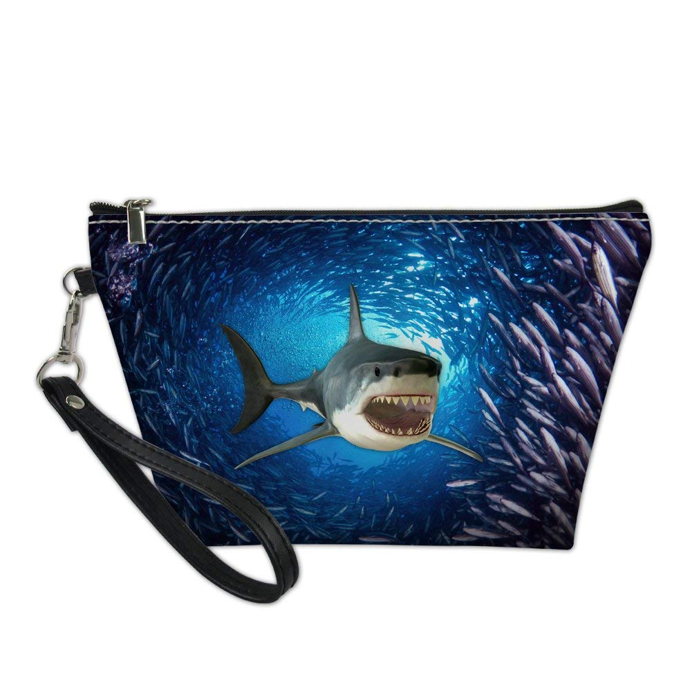 FUIBENG Women Travel Makeup Bag 3D Ocean Shark Stylish Cosmetic Storage Pouch Clutch Bags
