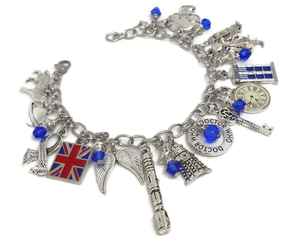 GiftJewelryShop Silver Plated Quebec Flag Photo Three Heart Beads Charm Bracelets