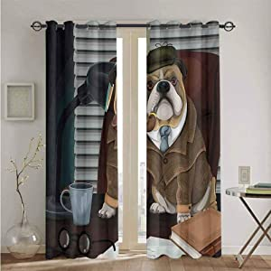 nooweihome English Bulldog 3D Pattern Print Curtain Home Decoration Traditional English Detective Dog with a Pipe and Hat Sherlock Holmes Image Nsulated Darkening Curtains W84 x L108 Multicolor
