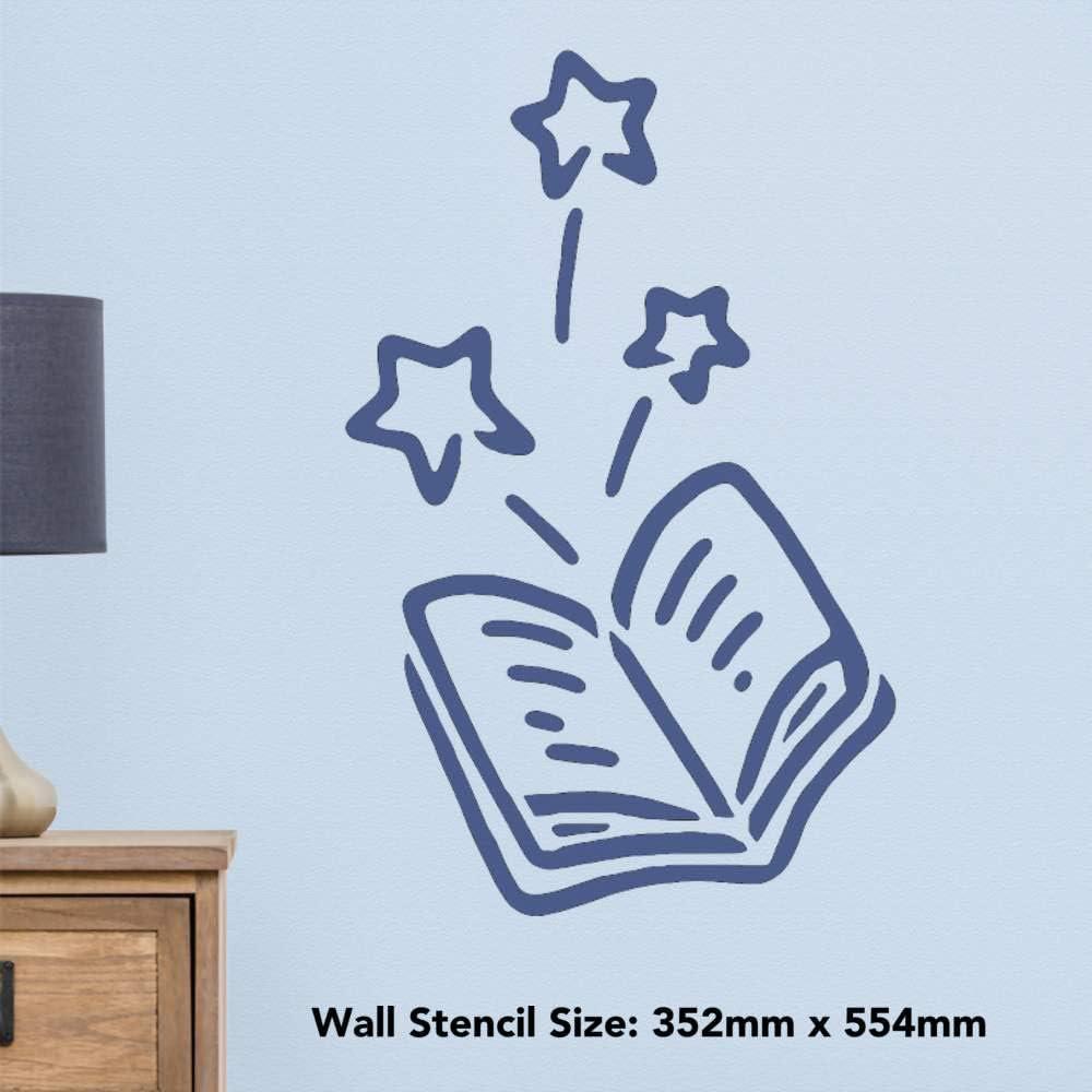 Azeeda Grand A2 Livre de Magie Pochoir Mural WS00032013