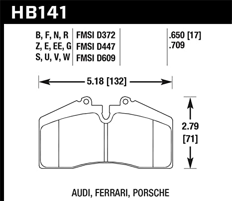 Front Set Hawk HB141B.650 High Performance Street 5.0 Brake Pads